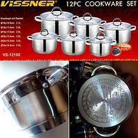 Набор посуды 12пр (16/18/24см) Vissner VS 12100
