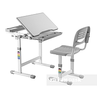Комплект растущей мебели FunDesk парта 66х49 см и стул для ребенка 3 - 12 лет ТМ FunDesk Берый Cantare Gray