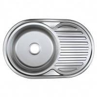 Врезная кухонная мойка Platinum 77*50 (мм) в покрытии polish (поированная), с толщиной 0,8 (мм), фото 1