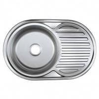 Врезная кухонная мойка Platinum 77*50*18 Satin 0.8 Кепка, фото 1