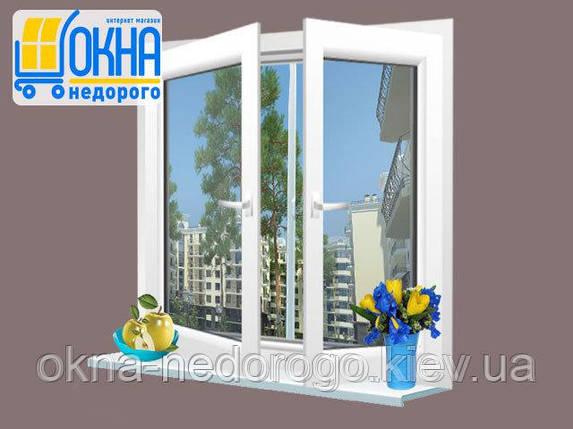 Двустворчатое ПВХ окно Veka EuroLine 2 открывания, фото 2