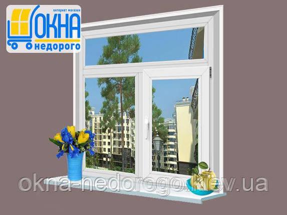 Двустворчатое окно ПВХ Veka EuroLine с фрамугой , фото 2