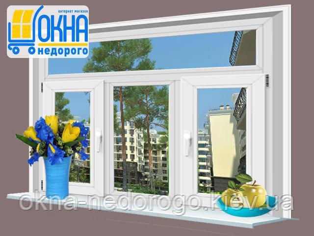Трехстворчатое ПВХ окно Veka EuroLine с фрамугой