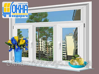 Трьохстулкове ПВХ вікно Veka EuroLine з фрамугою