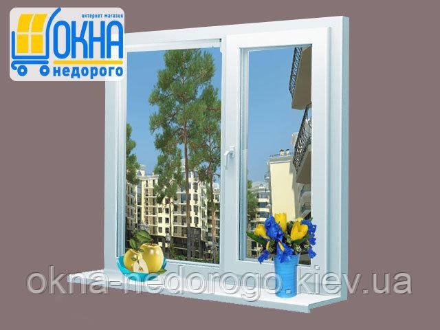 Двустворчатое пластиковое окно Veka SoftLine