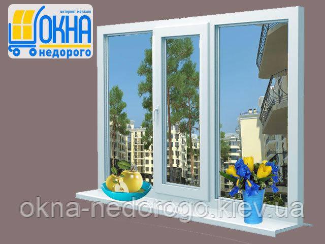 Трехстворчатое окно ПВХ Veka SoftLine
