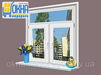 Двустворчатое окно Veka SoftLine с фрамугой 2 открывания