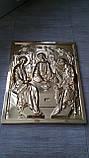 Золочение сусальным золотом резной иконы Святой Троицы., фото 3