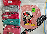 Костюм двойка для девочки 1-4 лет футболка+лосины персикового,розового,серого,голубого цвета Минни оптом