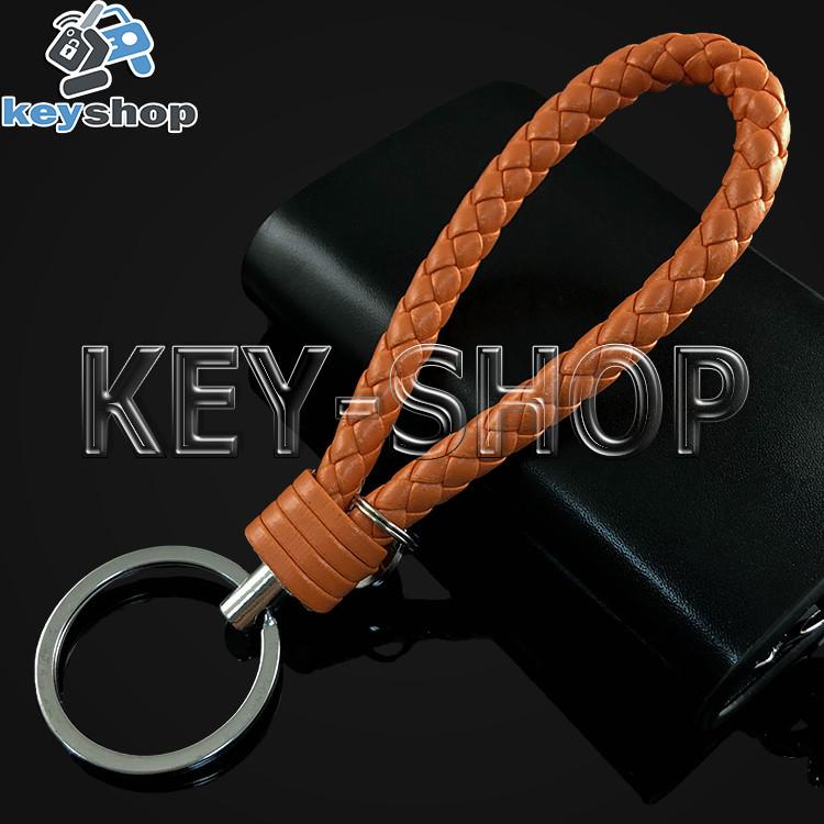 Оранжевый брелок с кожаным плетёным шнуром и никелированым кольцом
