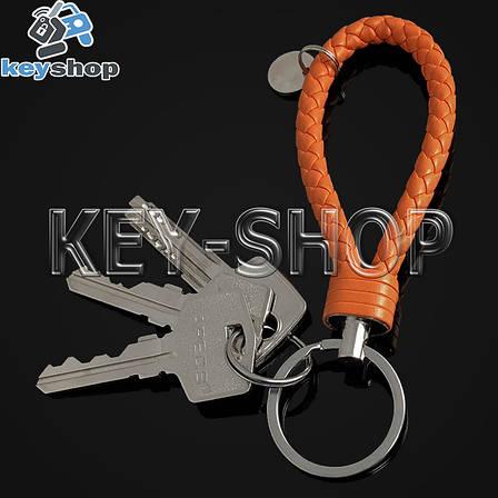 Оранжевый брелок с кожаным плетёным шнуром и никелированым кольцом, фото 2