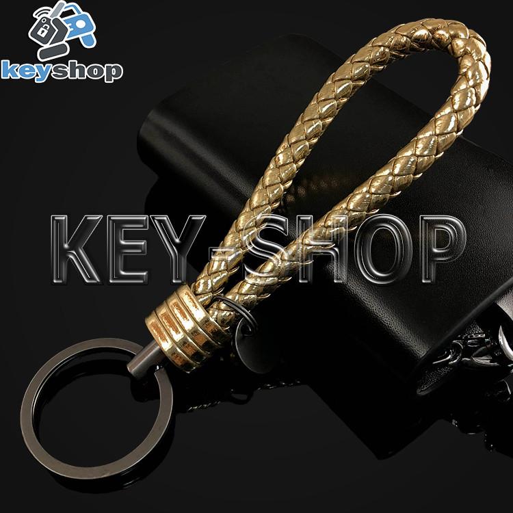 Золотистый брелок с кожаным плетёным шнуром и кольцом в темном хроме