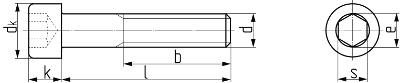 Описание: Винт с цилиндрической головкой с внутренним шестигранником DIN 912 (EN ISO 4762, ГОСТ 11738-84). Чертёж