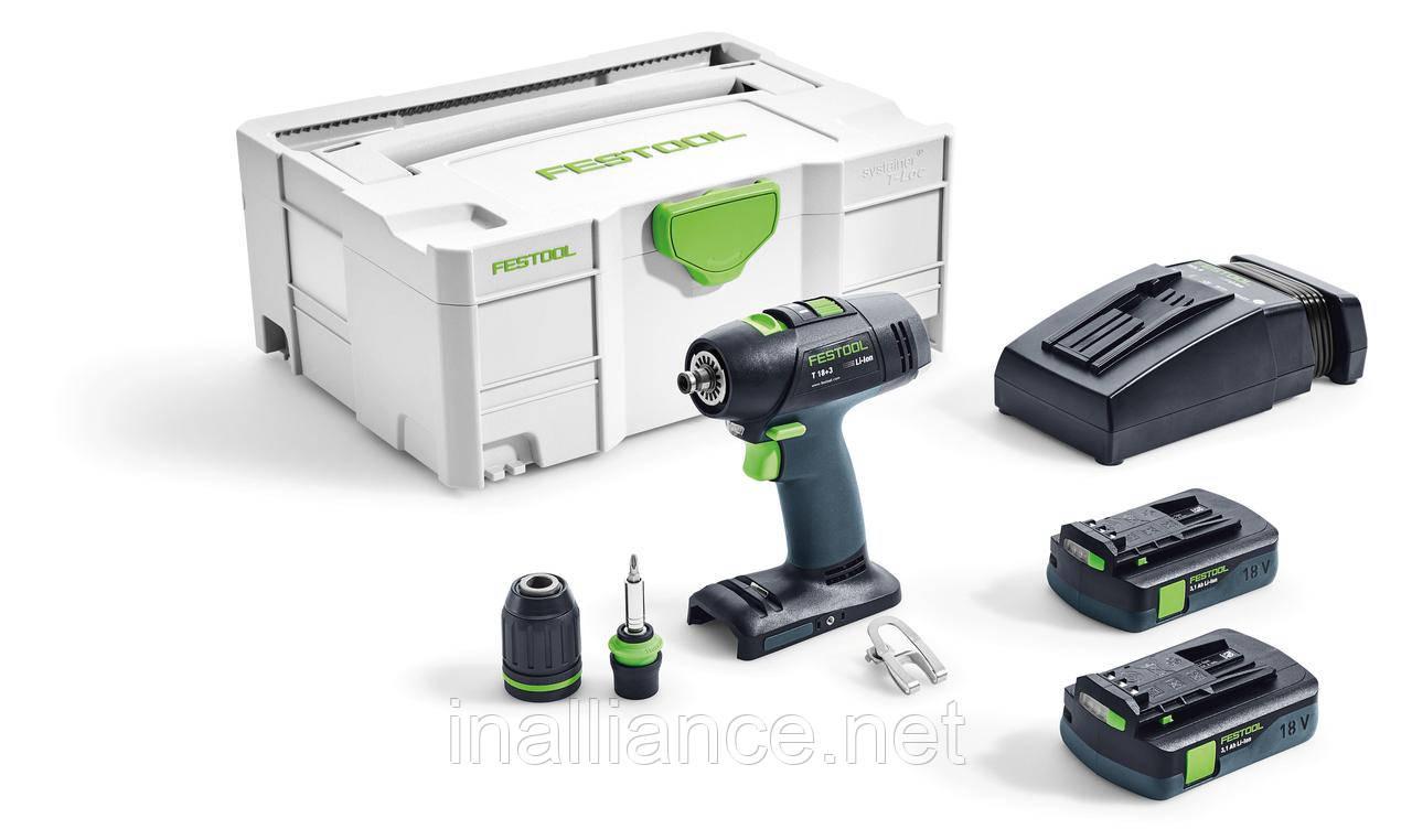 Аккумуляторная дрель-шуруповерт T 18+3 Li 3,1 Compact Festool 574908