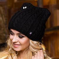 Женская шапка вязаная черная