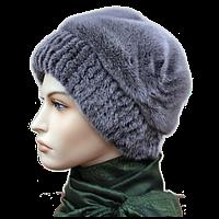 Норковая женская зимняя шапка пилот цвет сапфмр