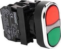 Кнопка сдвоенная что выступает (1но + 1НЗ) красно-зеленая