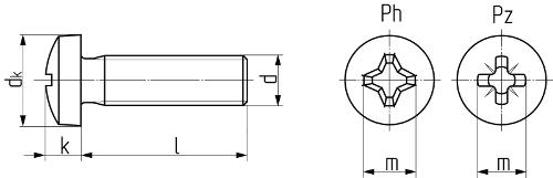 Описание: Винт с закругленной цилиндрической головкой с крестообразным шлицем DIN 7985 (ISO 7045, ГОСТ 17473-80). Чертёж