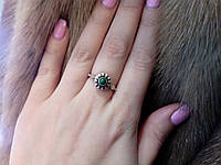 Красивое кольцо с бирюзой в серебре. Серебряное кольцо 925 пробы.