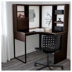 МИККЕ Стол письменный, угловой, черно-коричневый, 100x141 см, 50244741 IKEA, ИКЕА, MICKE, фото 2