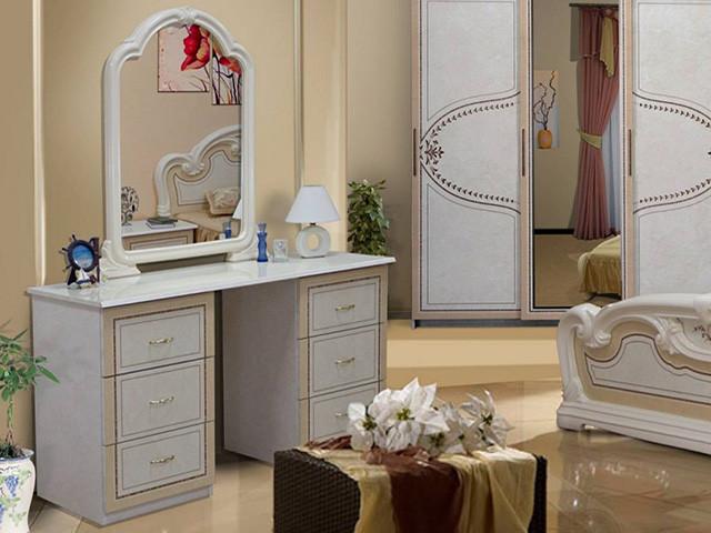 Стіл будуарний туалетний з ДСП/МДФ в спальню білий Мартіна 6Ш Миро-Марк