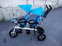 Детский трехколесный велосипед для двойняшей TWINS Кроссер голубой, фото 1