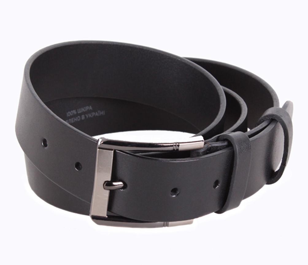 Мужской кожаный ремень Dovhani UK888-11 115-125 см Черный