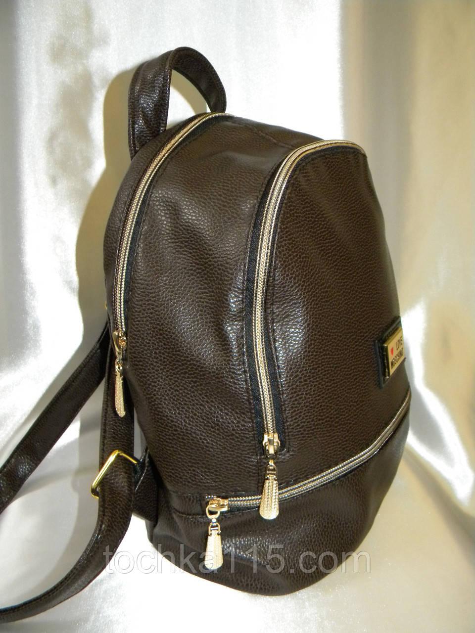 Женский кожаный рюкзак MOSCHINO коричневый реплика