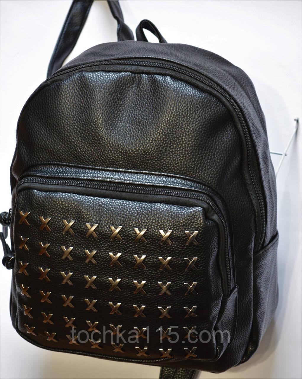 Женский кожаный рюкзак черный RG