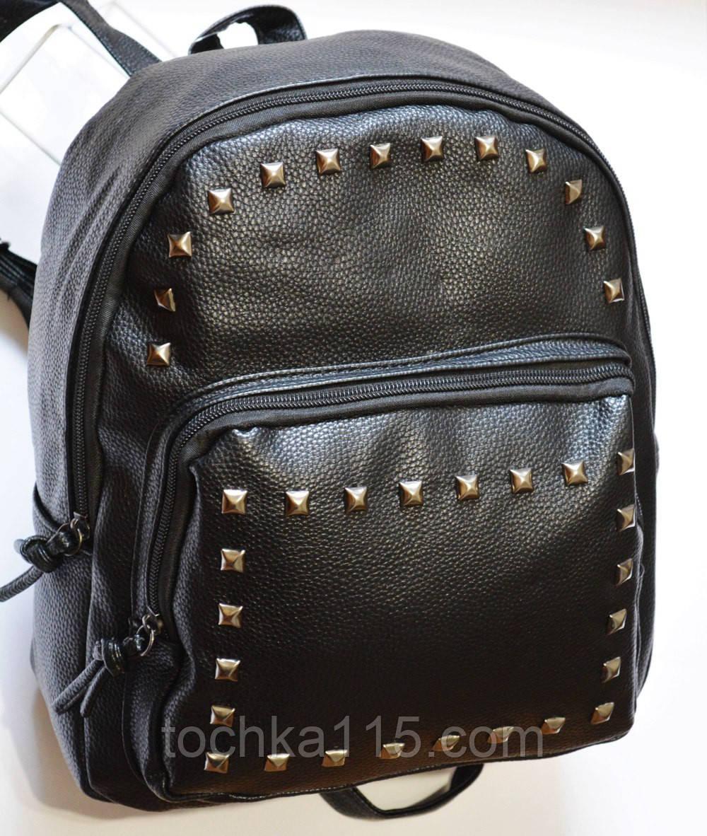 Женский кожаный мини рюкзак черный RS