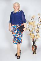 Платье праздничного назначения с оригинальным цветочным принтом