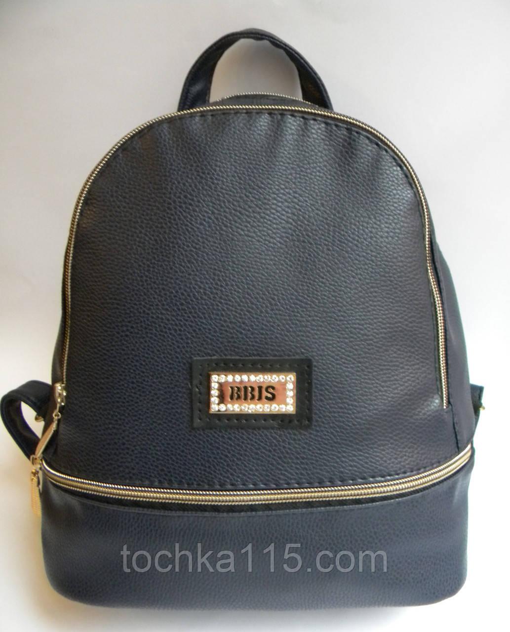 Женский кожаный рюкзак BBIS темно-синий, фото 1