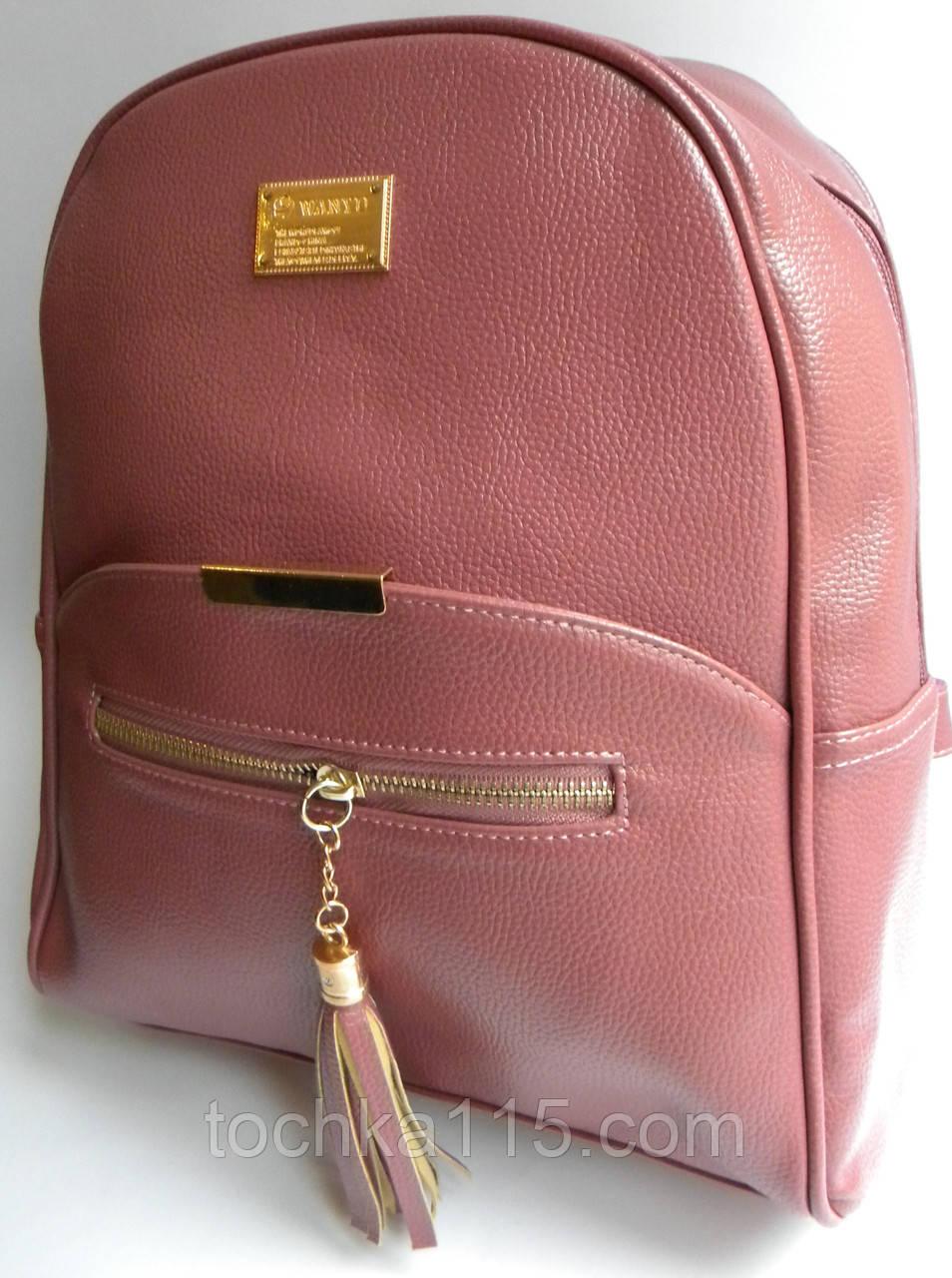 Новинка! Женский кожаный рюкзак WANYU розовый, фото 1