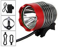 Велосипедная фара VASTFIRE 800 Lm CREE XM-L T6 LED 6400 mAh (SILVER/RED), фото 1