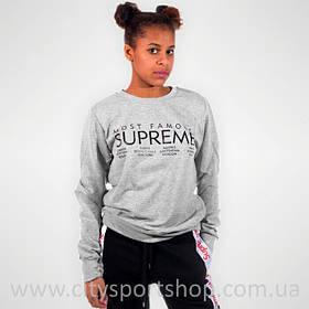 Свитшот с принтом Supreme Moust Famous серый женский