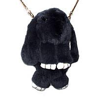 Сумка-рюкзак кролик из меха, рюкзак кролик, женский рюкзак из меха черный, фото 1