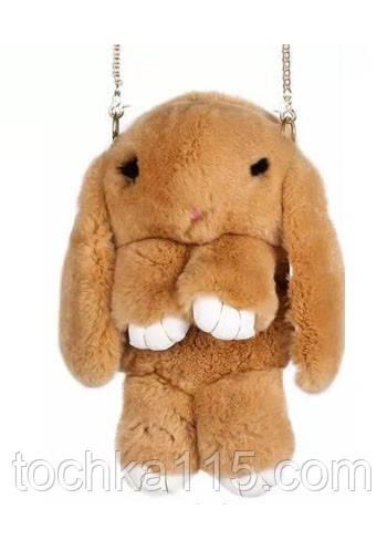 Сумка-рюкзак кролик из меха, рюкзак кролик, женский рюкзак из меха коричневый