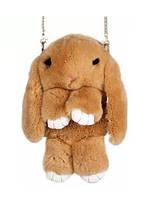 Сумка-рюкзак кролик из меха, рюкзак кролик, женский рюкзак из меха коричневый, фото 1
