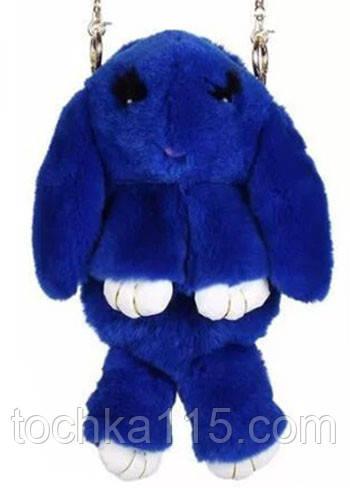 Сумка-рюкзак кролик из меха, рюкзак кролик, женский рюкзак из меха коричневый Синий