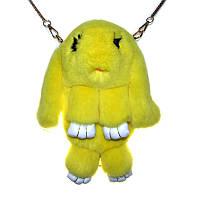 Сумка-рюкзак кролик из меха, рюкзак кролик, женский рюкзак из меха коричневый Желтый
