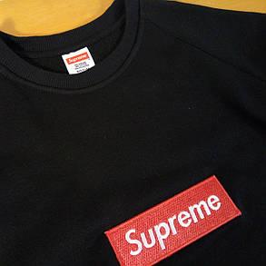 Свитшот с нашивкой Supreme Box Logo чёрный женский, фото 2