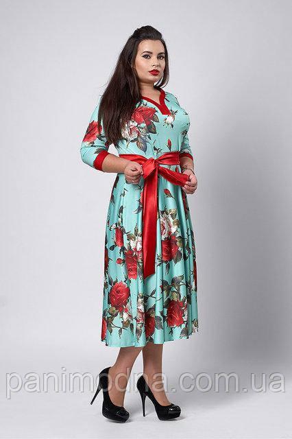 Платье в цветочный узором с пояском -  код 526