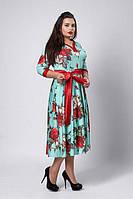 Платье в цветочный узором с пояском -  код 526, фото 1