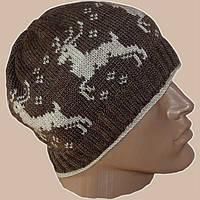 """Мужская вязаная зимняя шапка с норвежским орнаментом """"олени"""""""