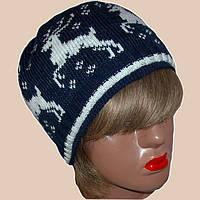 """Вязаная женская шапка с норвежским орнаментом """"олени"""""""