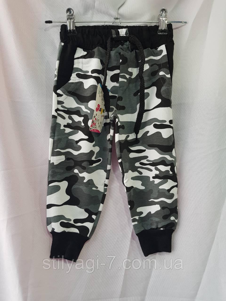 Спортивные штаны для мальчика на 1-4 лет хаки цвета на манжете оптом
