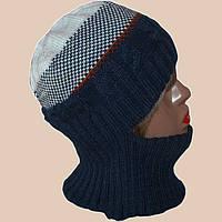 Женская вязаная зимняя шапка-трансформер в этническом стиле