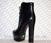 Ботильоны на толстом высоком каблуке кожаные черные на шнуровочке Код 1350, фото 2