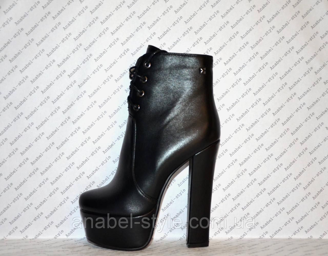 Ботильоны на толстом высоком каблуке кожаные черные на шнуровочке Код 1350