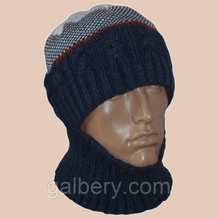 мужская вязаная шапка шлем в этническом стиле цена 350 грн купить